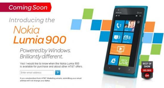 Nokia Lumia 900 Coming To AT&T April 8th
